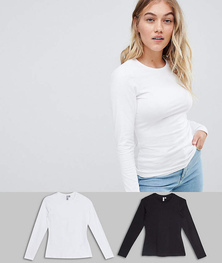 ASOS Petite ASOS DESIGN Petite ultimate top with long sleeve and crew neck 2 pack
