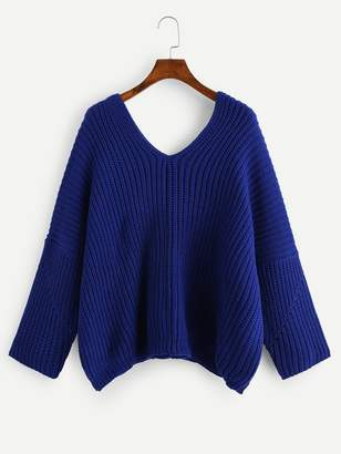 Shein Double V Neck Solid Sweater