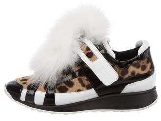 Pierre Hardy Ponyhair Fur-Trimmed Sneakers