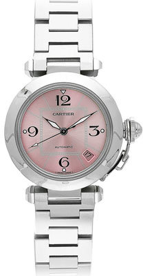 Cartier Pasha C Watch in Stainless Steel with Pink Dial