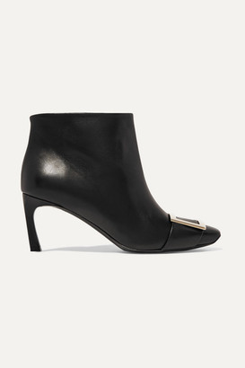 Roger Vivier Belle Vivier Trompette Leather Ankle Boots - Black