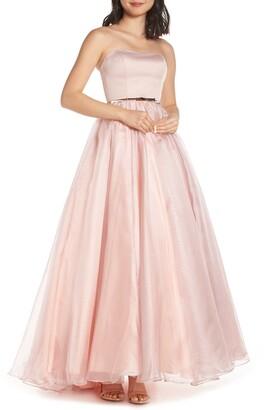 Mac Duggal Strapless Belted Evening Dress