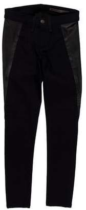 Rag & Bone Low-Rise Leather-Accented Jeans