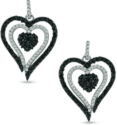 5/8 CT. T.W. Enhanced Black and White Diamond Heart Drop Earrings in Sterling Silver