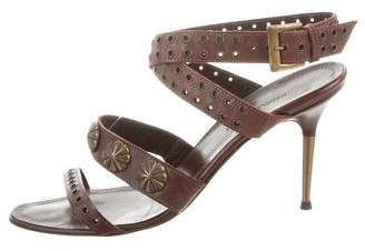 Manolo Blahnik Leather Ankle Strap Sandals