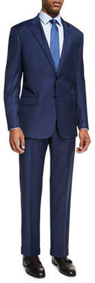 Armani Collezioni Graph Check Wool Two-Piece Suit, Bright Blue