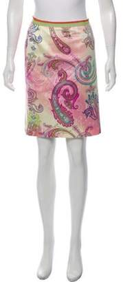 Etro Paisley Printed Knee-Length Skirt Pink Paisley Printed Knee-Length Skirt