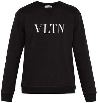 Vltn Logo Print Cotton Blend Sweatshirt - Mens - Black