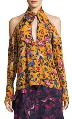 Tanya Taylor Adrienne Kimono Floral Silk Top