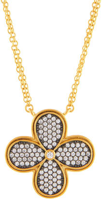 Freida Rothman Double-Strand Pave Crystal Clover Pendant Necklace