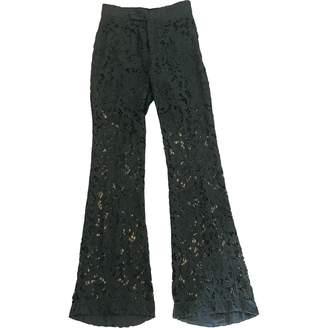 Green Cotton Zara Trousers for Women
