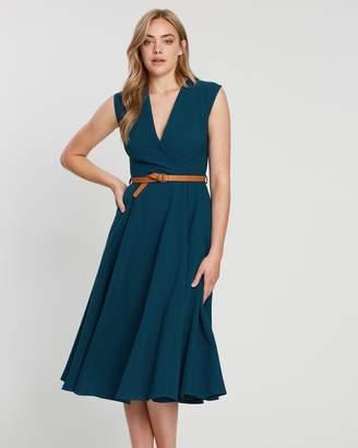Closet London Flared Wrap Dress With Belt