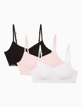 Calvin Klein girls 3-pack logo padded cropped bras