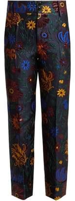 La DoubleJ Dragon Flower Hendricks Jacquard Trousers - Womens - Blue Multi