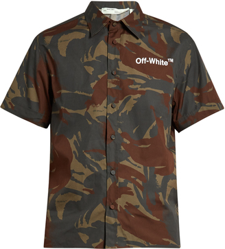 OFF-WHITE Short-sleeved camouflage-print poplin shirt $475 thestylecure.com