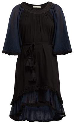 Mes Demoiselles Gregale Embroidered Cotton Voile Midi Dress - Womens - Black Navy