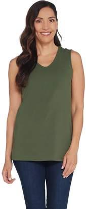 Denim & Co. Essentials Perfect Jersey V-Neck Tunic Tank Top