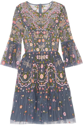 Needle & Thread - Dragonfly Garden Embellished Embroidered Tulle Mini Dress - Storm blue $650 thestylecure.com
