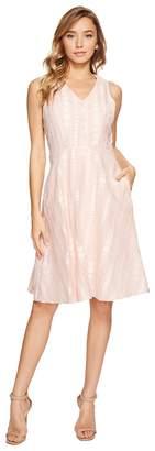 Donna Morgan V-Neck Dot Burnout Jacquard Fit and Flare Shirt Dress Women's Dress