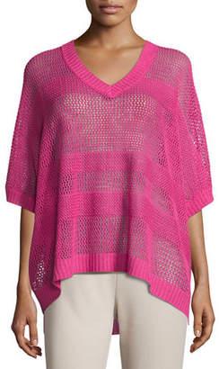 Joan Vass Mesh Striped Sweater