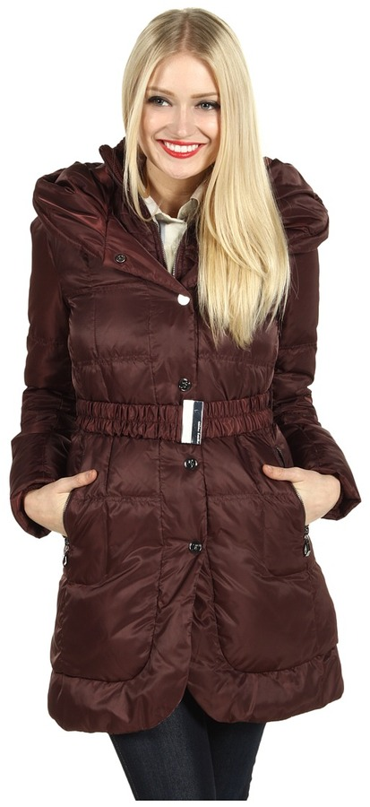 Ivanka Trump Hooded Knit Collar Down Coat (Burgundy) - Apparel