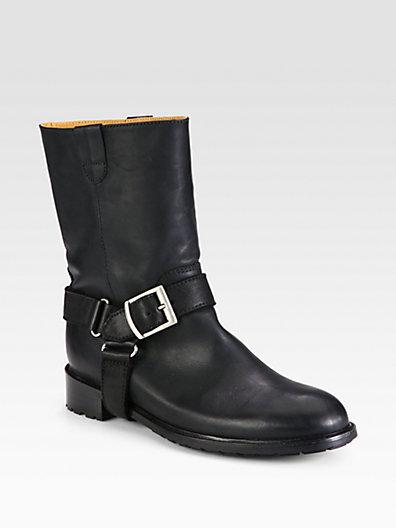 10022-SHOE Saks Fifth Avenue Atlanta Leather Buckle Motorcycle Boots