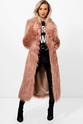 boohoo Boutique Mongolian Maxi Faux Fur Coat