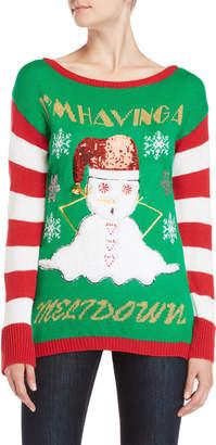 Derek Heart Metallic Melting Snowman Christmas Sweater