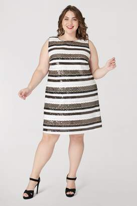 29781b5d15d Marée Pour Toi Maree Pour Toi Sequin Stripe Sleeveless Dress in  White Black Gold