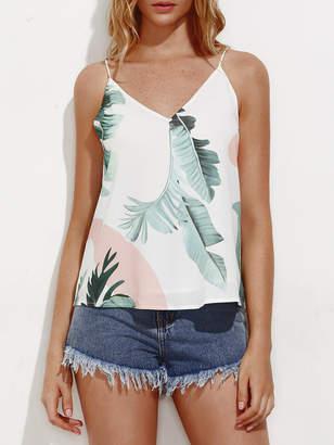 Shein V Back Palm Leaf Print Cami Top