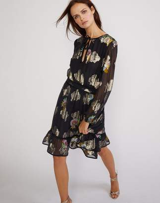 Cynthia Rowley Sheer Metallic Floral Flounce Dress