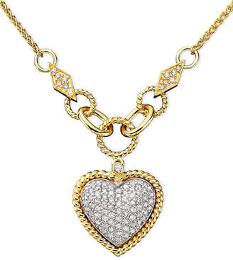 Effy D'Oro by Diamond Pavé Diamond Heart Pendant (3/4 ct. t.w.) in 14k Gold and 14k White Gold