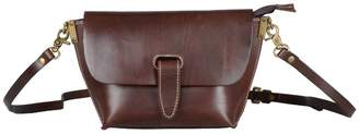 EAZO - Strap Detail Cross-Body Leather Bag in Dark Brown