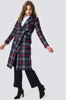 Na Kd Classic Checked Long Coat Light Pink