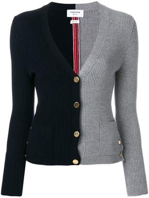 Thom Browne Half-and-half Rib Knit V-neck Wool Cardigan