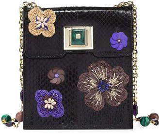 Andrew Gn Sequin-Embellished Snakeskin Shoulder Bag, Black/Multi