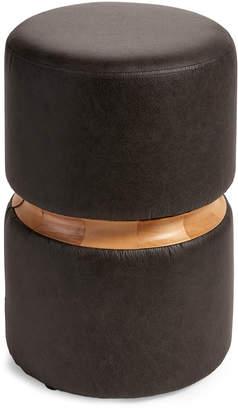 Idea Nuova Black Wood-Accented Ottoman