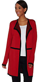 Dennis Basso Open Front Cardigan withContrast Trim