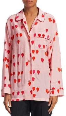 Alexander McQueen Silk Petal Print Pajama Shirt