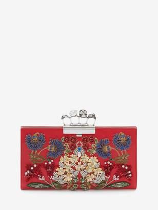 "Alexander McQueen ""Jeweled Garden"" Skull Four Ring Flat Pouch"
