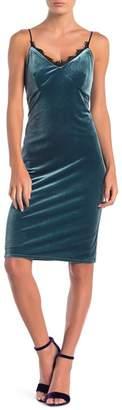 Cynthia Steffe CeCe by Arianna Sleeveless Velour Lace Trim Slip Dress