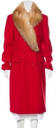 Michael Kors Fur-Trimmed Long Coat Red Fur-Trimmed Long Coat