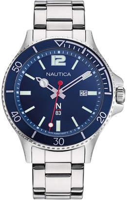 Nautica N83 Men NAPABS909 Accra Beach Silver/Blue Stainless Steel Bracelet Watch