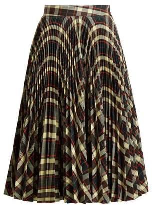Calvin Klein Tartan Pleated Midi Skirt - Womens - Brown Multi