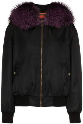 Mr & Mrs Italy black and purple fox fur trimmed bomber jacket