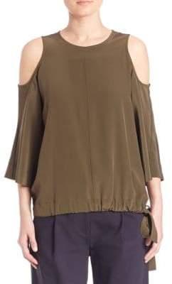 Tibi Cold Shoulder Silk Top