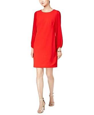 Donna Ricco Women's Sheer Pleated Long Sleeve Shift Dress