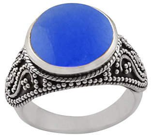 Artisan Crafted Sterling Silver Round Blue Quartz Ring