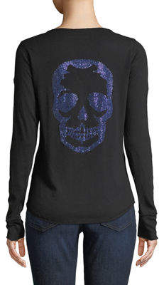 Zadig & Voltaire Tunisien Skull-Back Long-Sleeve Henley Top
