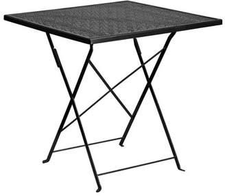Flash Furniture 28'' Square Black Indoor-Outdoor Steel Folding Patio Table